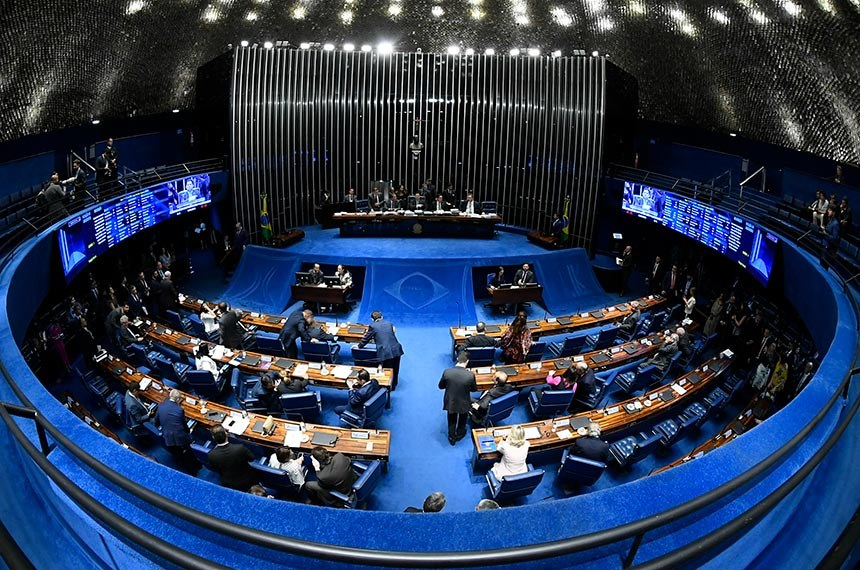Foto retrata o plenário do Senado Federal