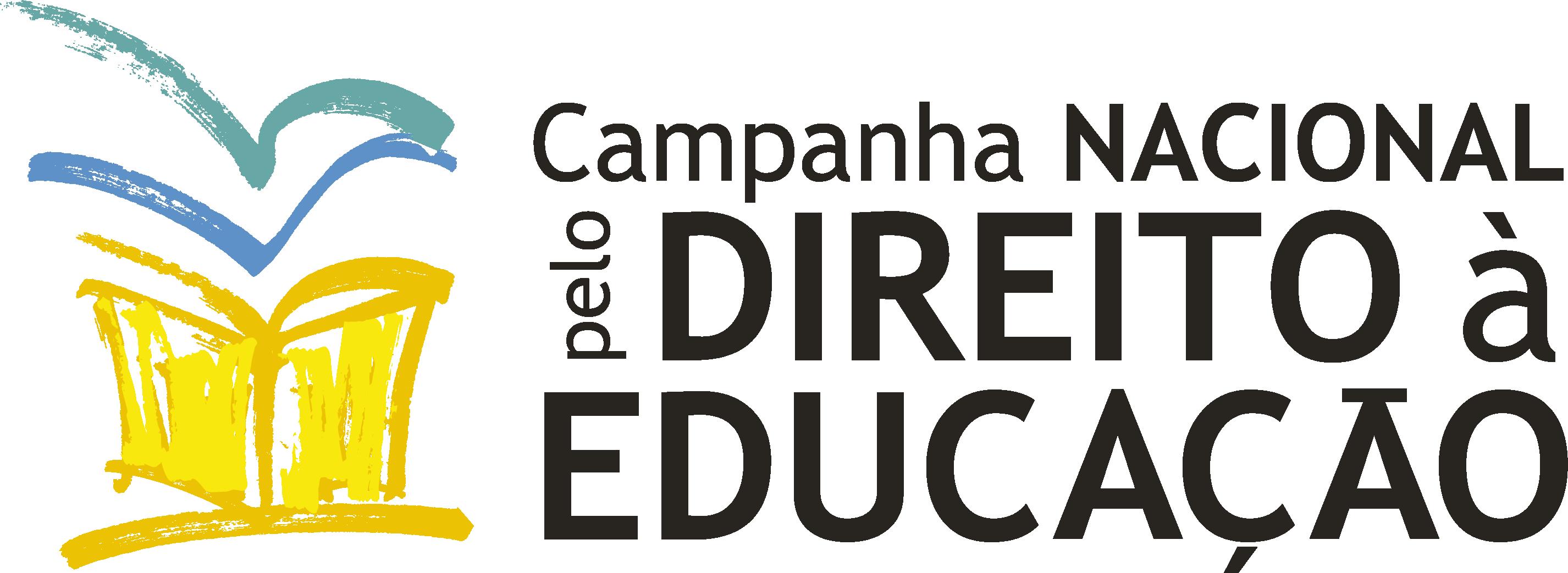Logo da entidade Campanha Nacional pelo Direito à Educação. A logo apresenta um caderno amarelo, com detalhes em azul e verde água.