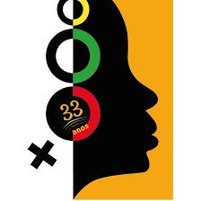 Logo do N'zinga - Coletivo de Mulheres Negras. A logo apresenta a silhueta do rosto de uma mulher negra e, sobre a orelha, como se fosse um brinco, o símbolo do feminismo.